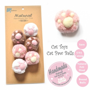 Ball Cat Paw Balls for Cats, Catnip Handmade Felt Wool
