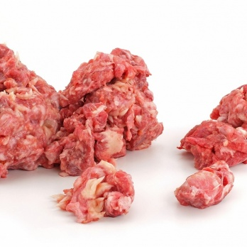 Raw food with beef